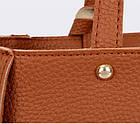 Трендовая женская сумка JingPin 4в1 Коричневая (сумка + клатч + кошелёк косметичка + визитница) 01062, фото 7