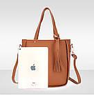 Трендовая женская сумка JingPin 4в1 Коричневая (сумка + клатч + кошелёк косметичка + визитница) 01062, фото 8