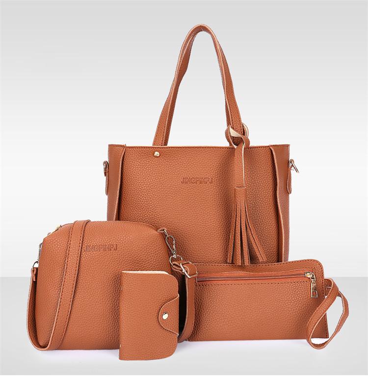 Трендовая женская сумка JingPin 4в1 Коричневая (сумка + клатч + кошелёк косметичка + визитница) 01062