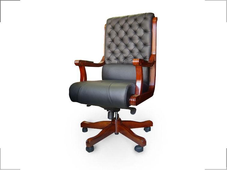 Кресло Сорренто Кожа Люкс Комбинированная Черная (Диал ТМ)