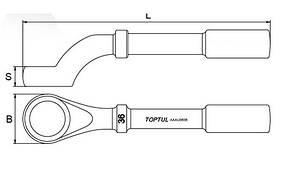 Ключ накидной односторонний (ударный) угол 45° 65мм Toptul AAAU6565, фото 2