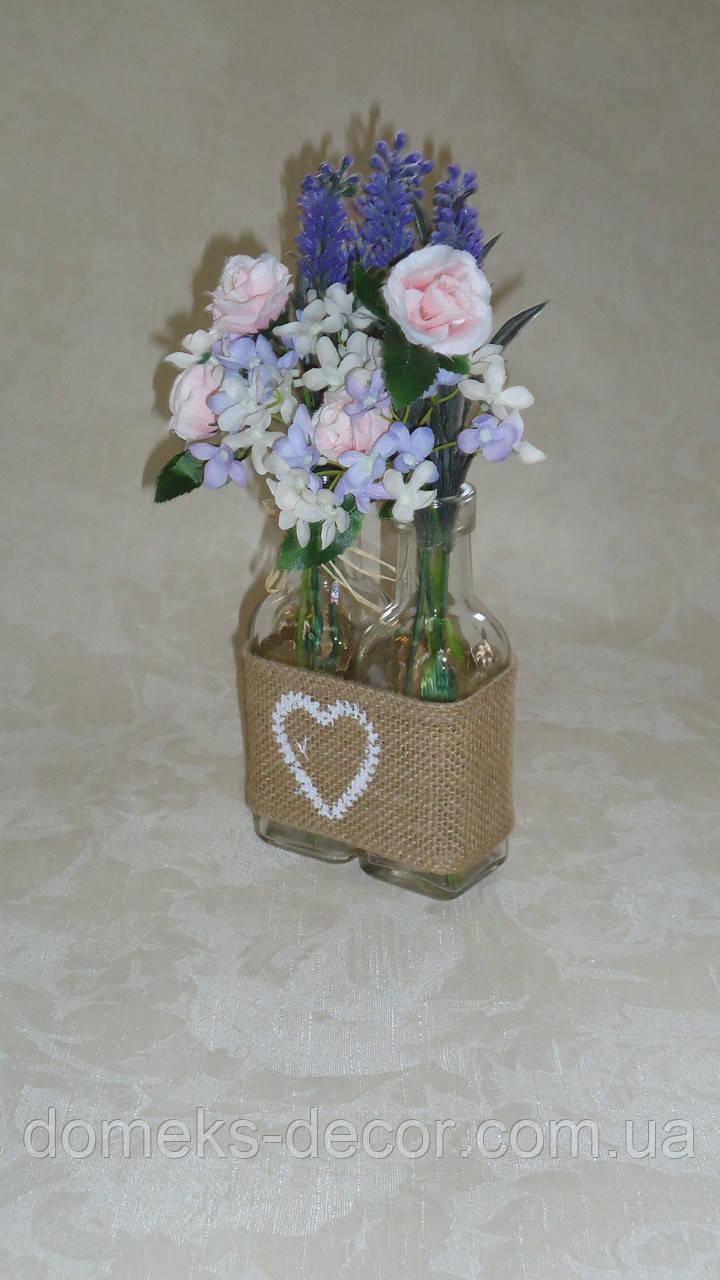 Стеклянные вазочки в подставке из мешковины(без цветов)