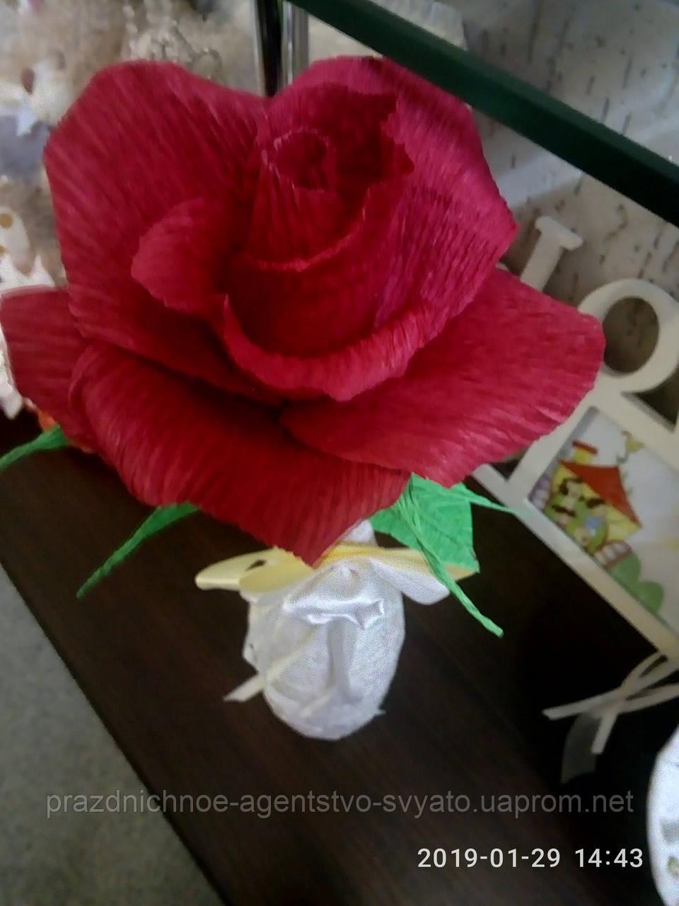 """Цветы из бумаги """"роза красная"""""""