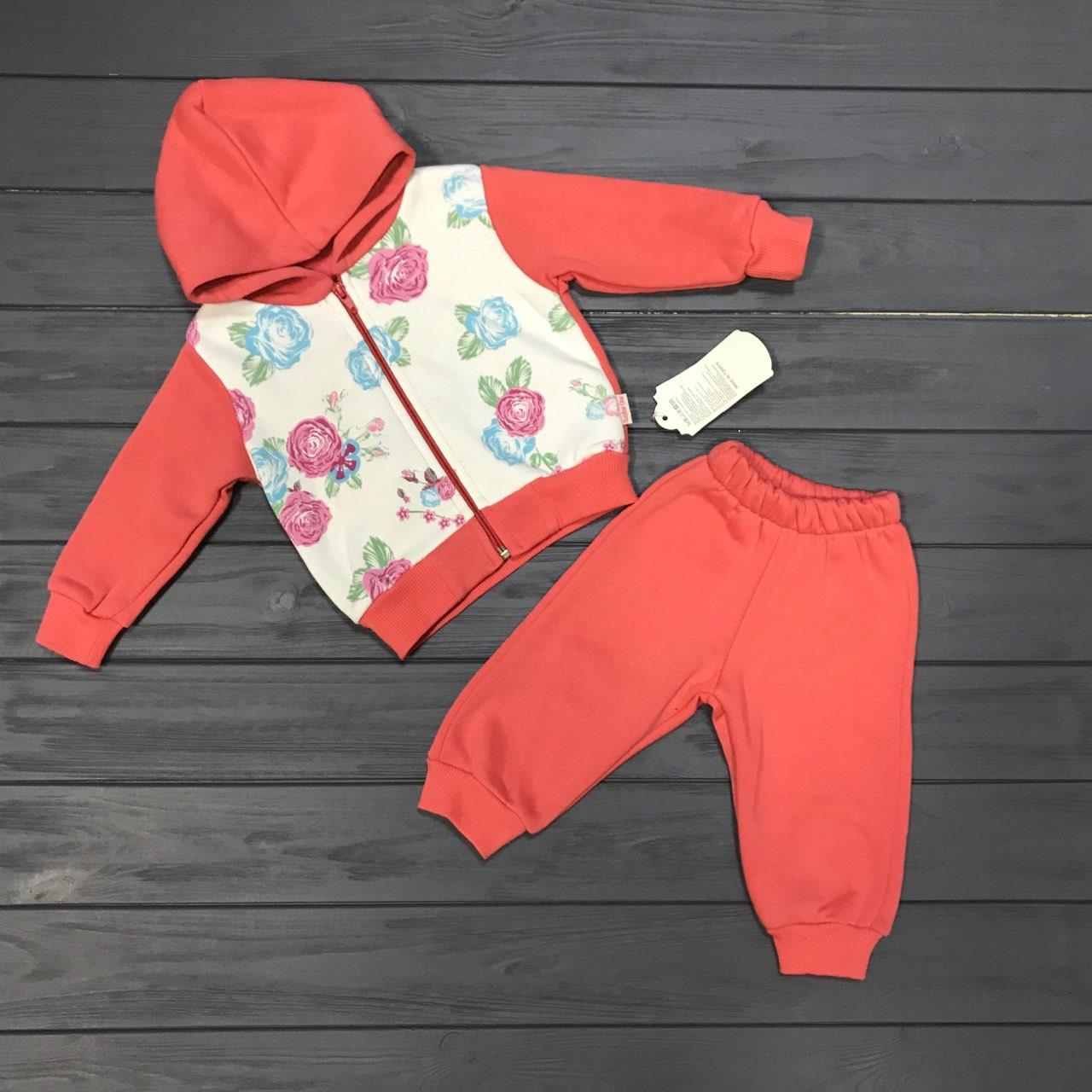 Детский костюм спортивный тёплый с начёсом для девочек оптом р.1-2-3-4 года