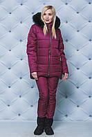 Костюм зимний женский куртка+штаны бордо