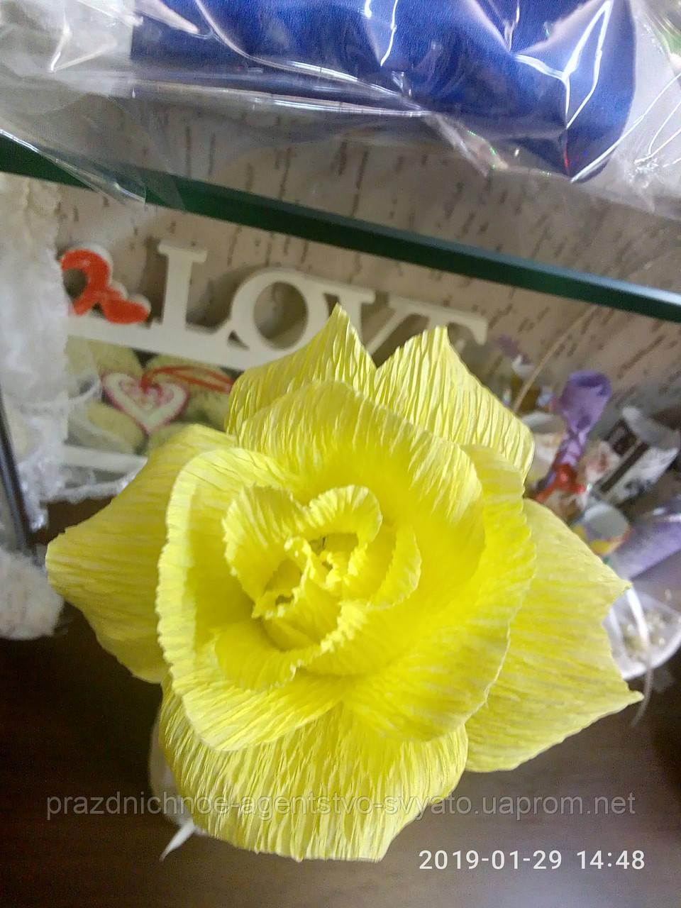 """Цветы из бумаги """"роза желтая"""""""