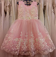 3.179 Шикарное розовое нарядное детское платье-маечка с кружевом и пайетками на 3-5 лет