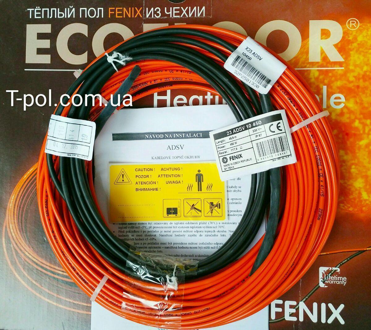 Нагревательный тонкий кабель Fenix adsv10 450Вт 45,9м чехия на 3 м2