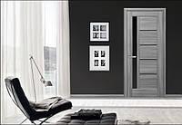 Межкомнатная дверь Грета с черным стеклом