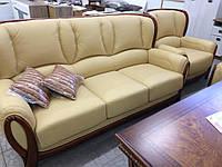 Комплект мягкой мебели A749 (кожа+натур.дерево), беж