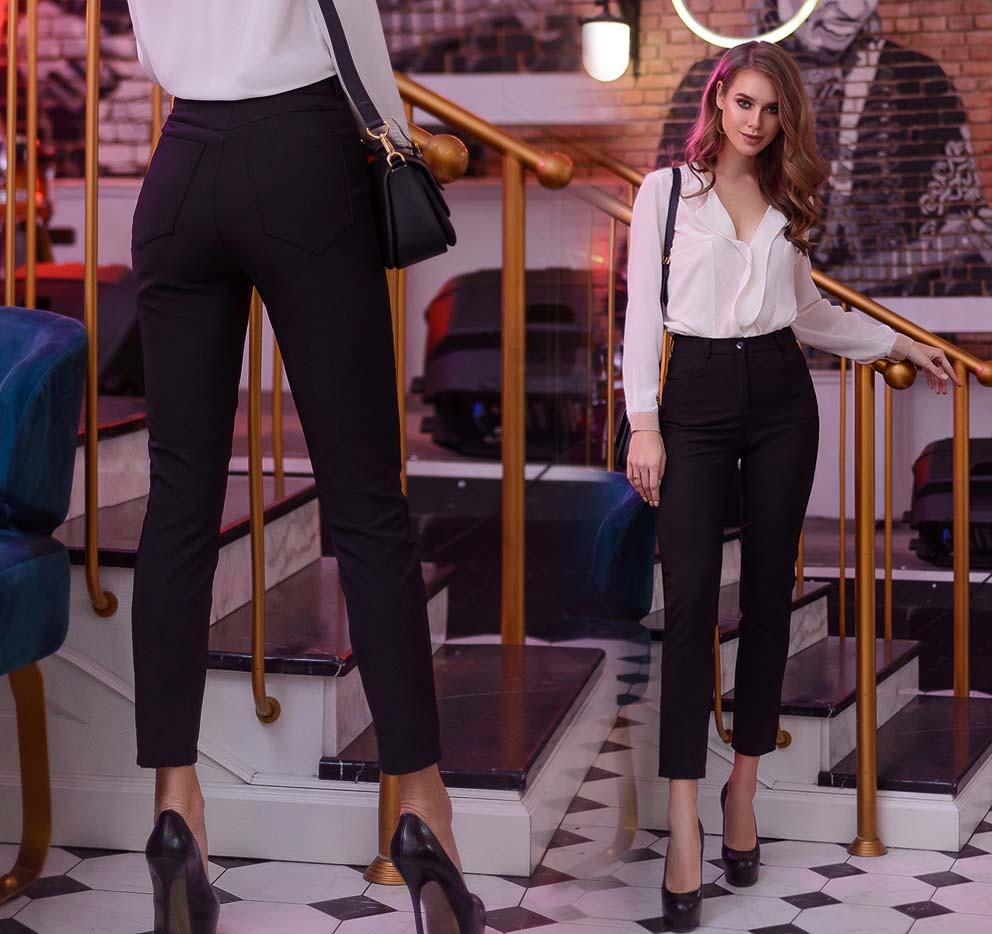 "Утеплённые женские брюки МОМ на флисе 41222 ""Креп Чинос"""