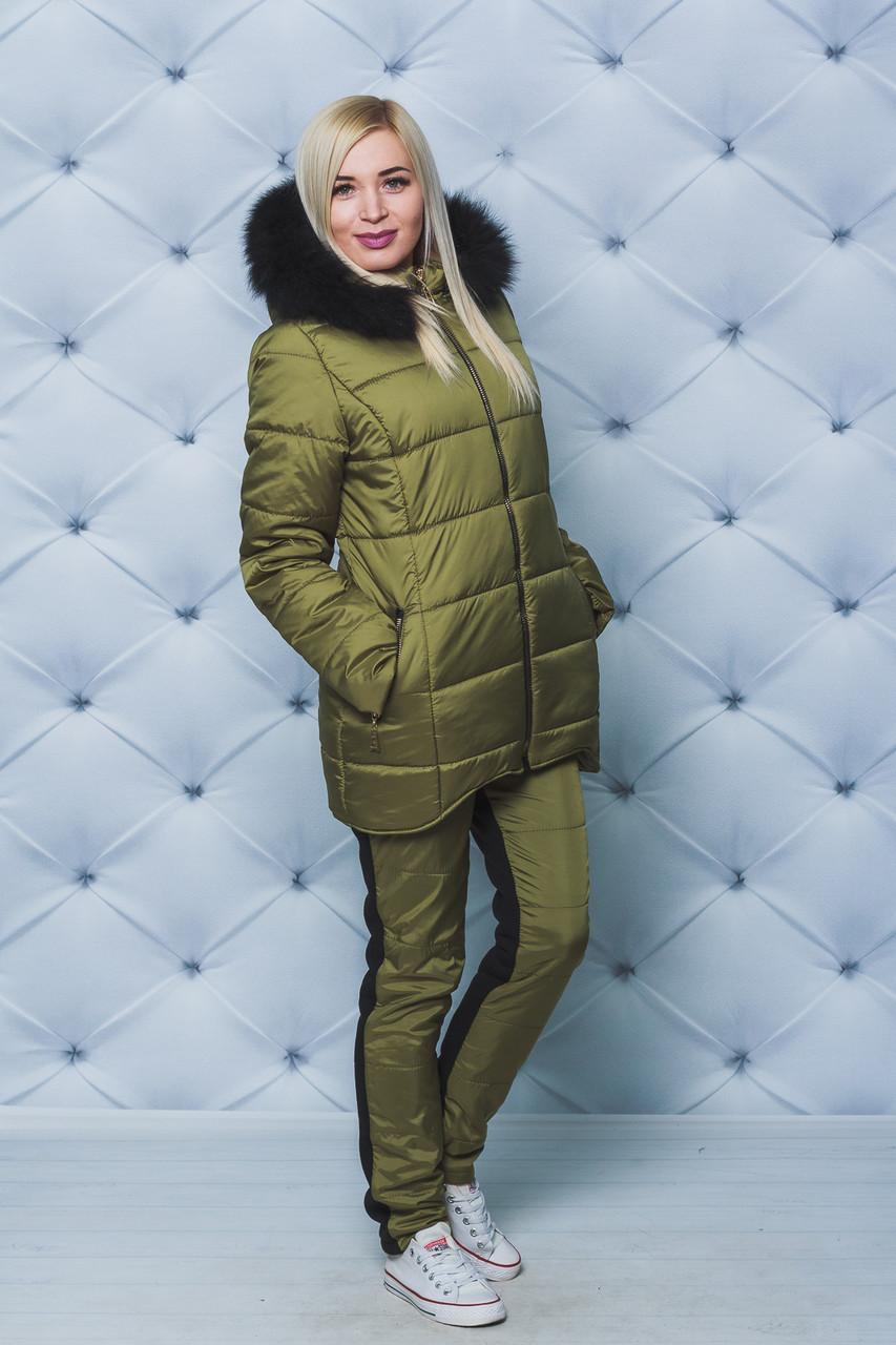 Костюм зимний женский куртка+штаны олива