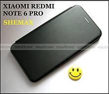 Черный чехол книжка в коже PU для Xiaomi Redmi Note 6 Pro, Shemax Magnit защита 360 градусов противоударный