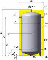 Бак аккумулятор 2000 л без изоляции. ЕА-00-2000-X/Y