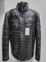 Куртка мужская чёрного цвета из натуральной кожи на био-пухе длина 70см 46р 48р 50р 52р 54р 56р 58р 60р
