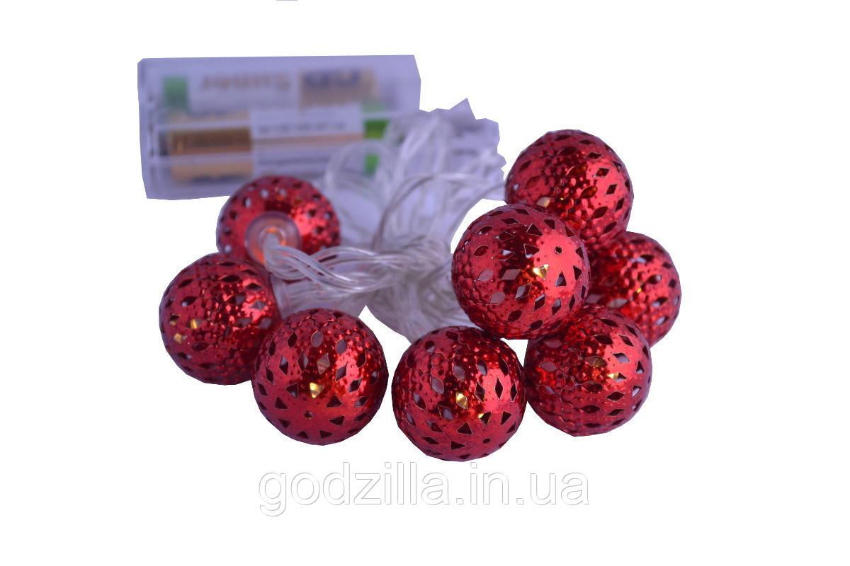 Новогодняя гирлянда 8 LED, Белый теплый свет, на пальчиковых батарейках