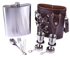 Фляга на 1400 мл в кожаной сумке, 2 раскладными стаканчиками, вилкой, ложкой, ножом