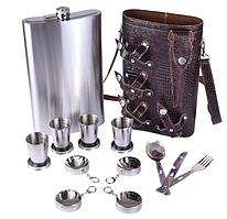 Фляга на 1900 мл в кожаной сумке, 4 раскладными стаканчиками, вилкой, ложкой, ножом