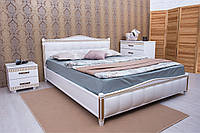 Деревянная кровать Прованс с патиной, фрезеровкой, мягкой спинкой.
