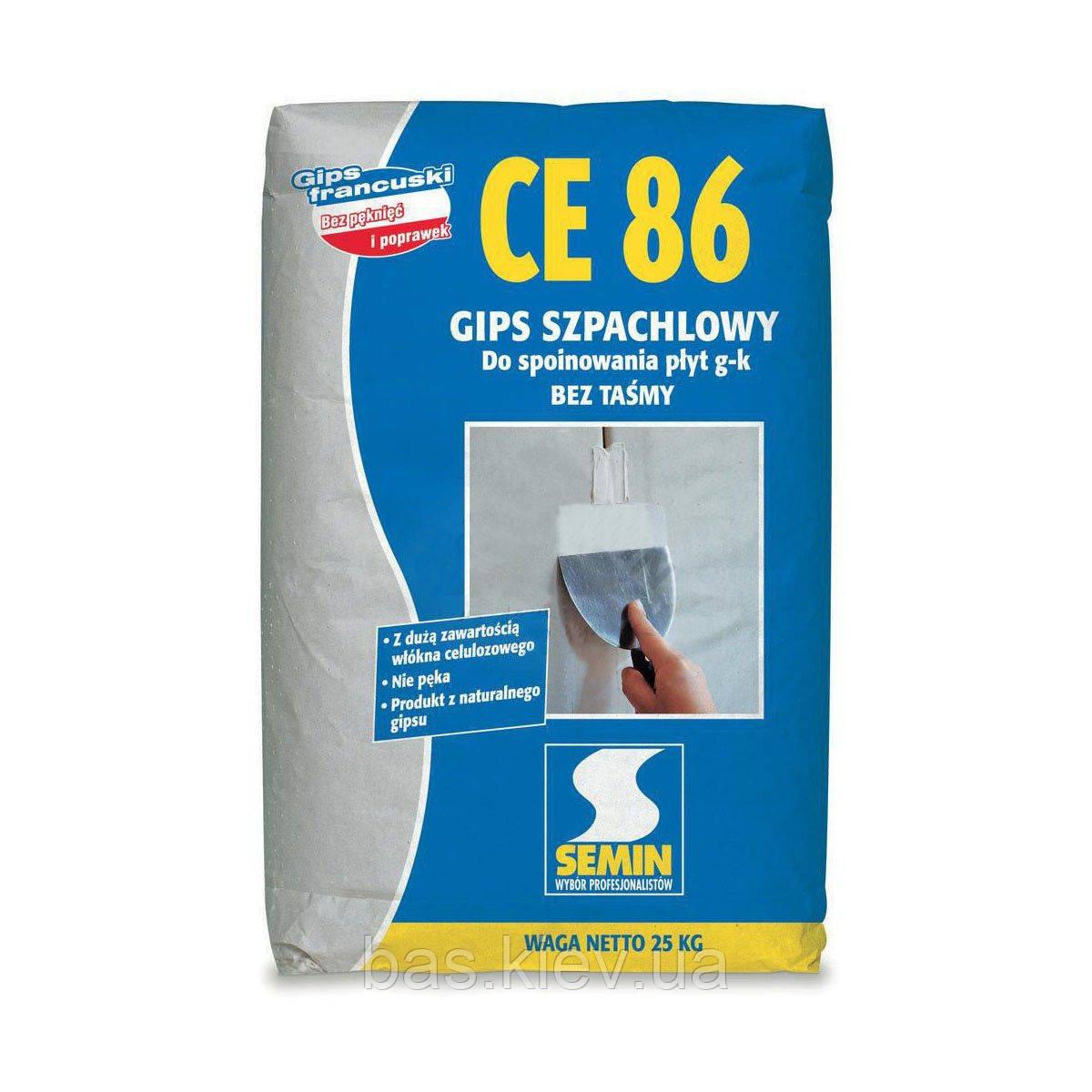 SEMIN CE-86  Шпаклевка многофункциональная, трещиностойкая для стыков ГКЛ/ГКВ  25кг