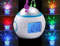 Музыкальные часы ночник с будильником, температурой, Звездное небо