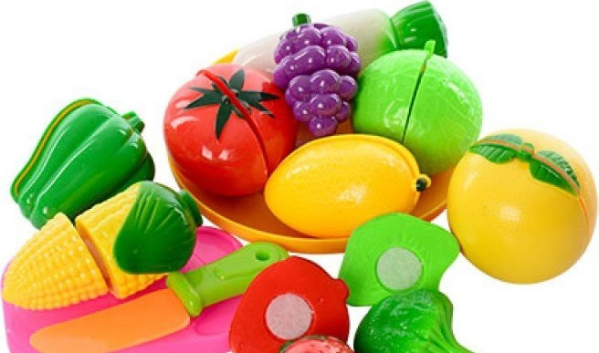 Фрукты 2018 А овощи, на липучке, тарелка, досточка, нож, 2 вида, в сумке, 22-14-7см