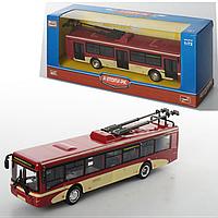 Троллейбус 6407C металл, инер-й, 16-4,5-3,5см, 1: 72, рез.колеса, в кор-ке, 20-8-6см