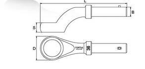 Ключ накидной односторонний ( ударный ) угол 45° 80мм Toptul  AAAV8080, фото 2