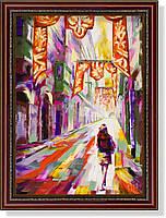 """Репродукция  современной картины Мико Вика (Мальта) """"Праздник в старом городе"""" 25 х 35 см"""