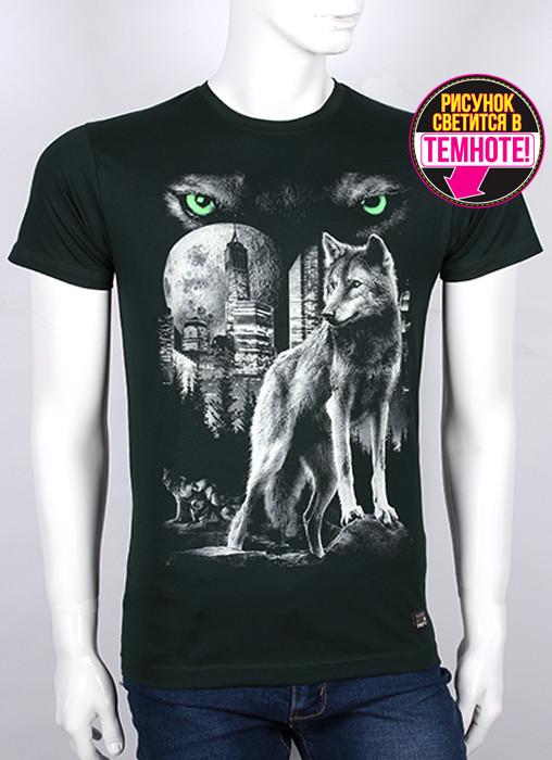 Мужская футболка с светящимся рисунком Волк
