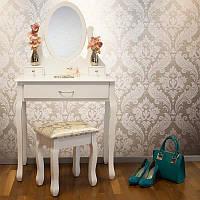 Туалетный стол Helena 75 см с табуретом и зеркалом, фото 1