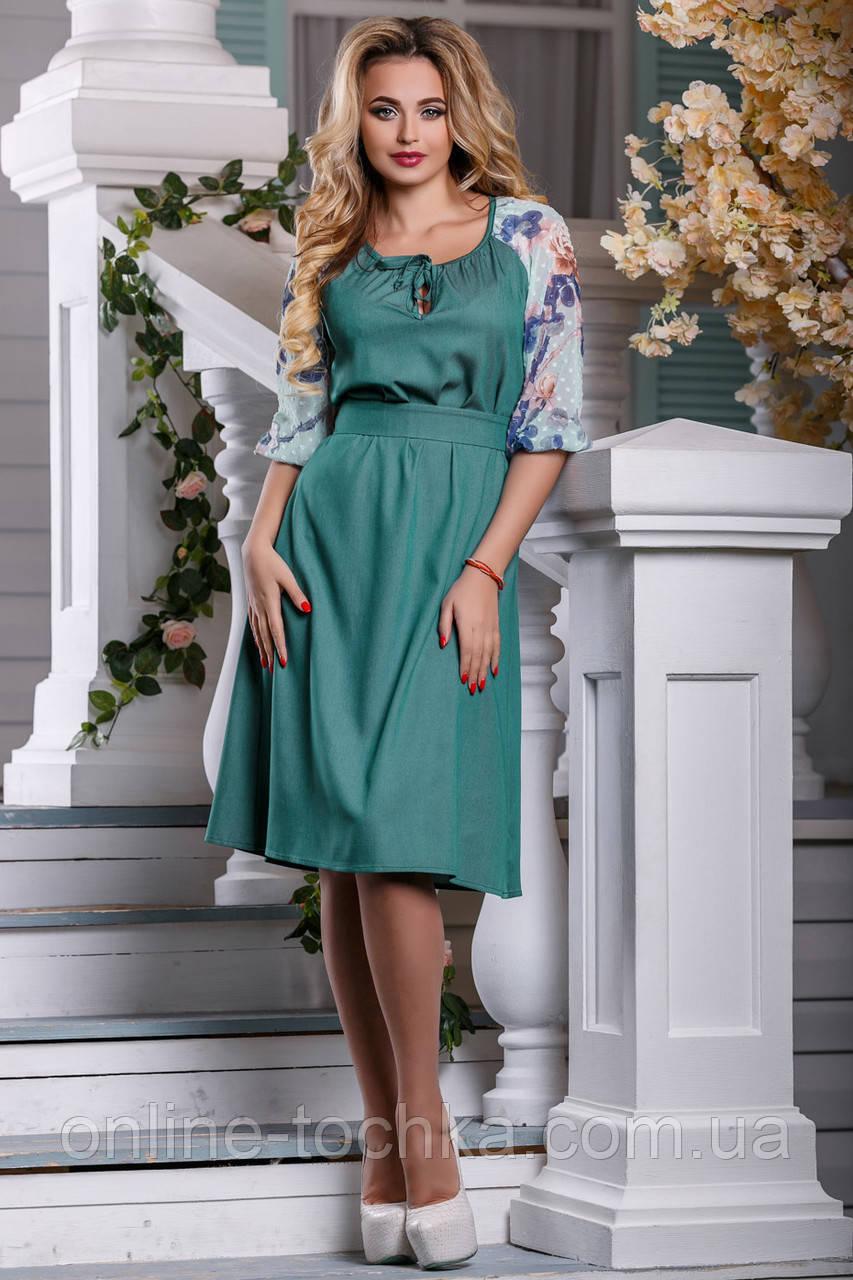 4a2f3fb6070e43c 🔴Зеленое платье с вышивкой на рукавах / Размер M L /P7А6В1 - 2597 - ☎