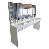 Стол визажиста со стеклянной столешницей, визажный стол на два рабочих места