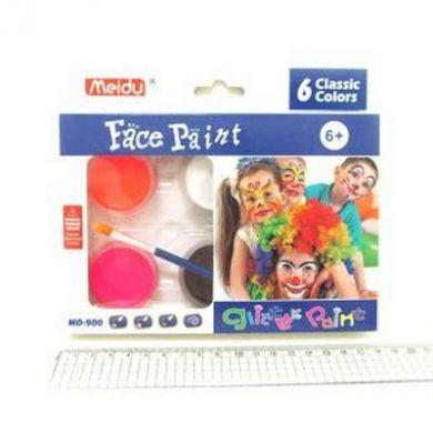 Краски для лица и тела (6 цветов+1 кисточка) 900-6-MD-1109