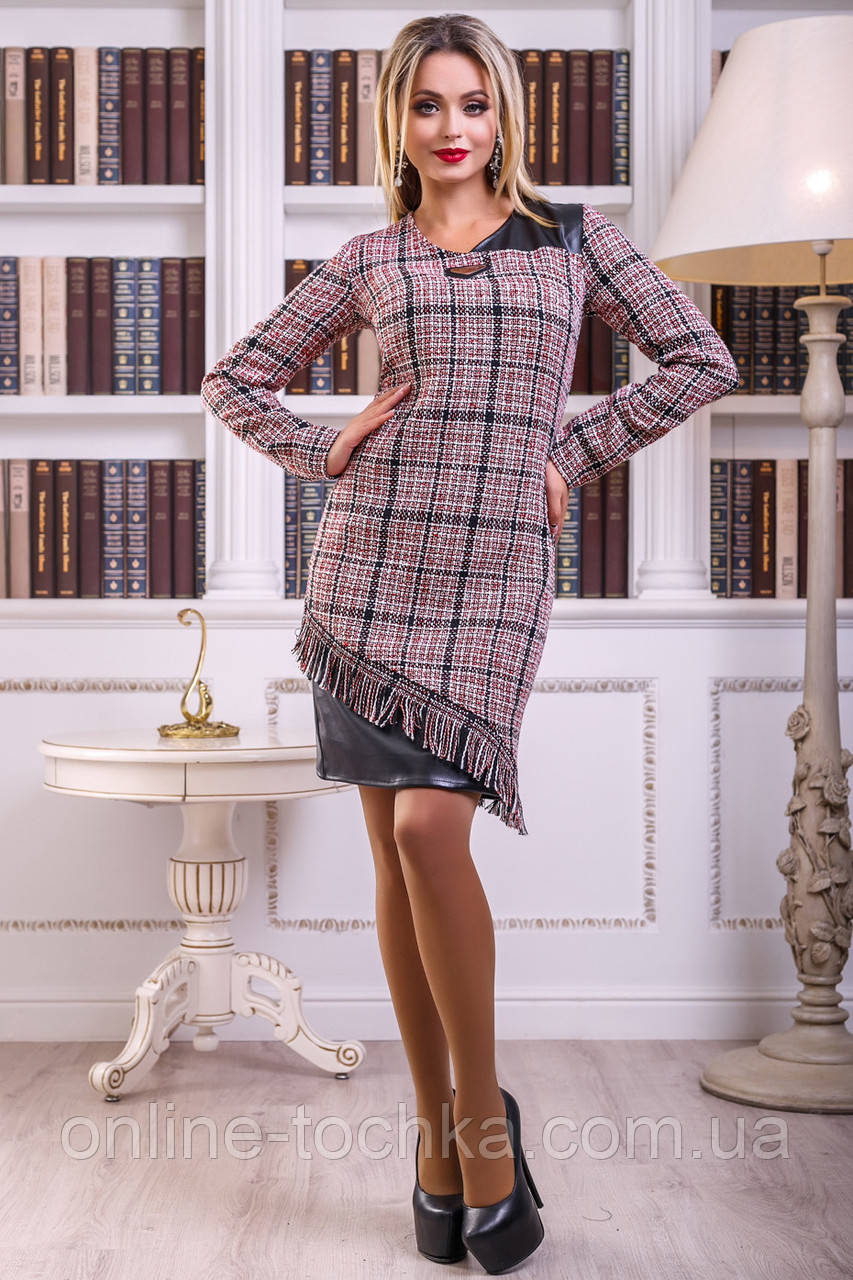 51f657ee7e9af97 🔴Осеннее платье в клетку теплого оттенка / Размер М /P7А6В1 - 2429 - ☎