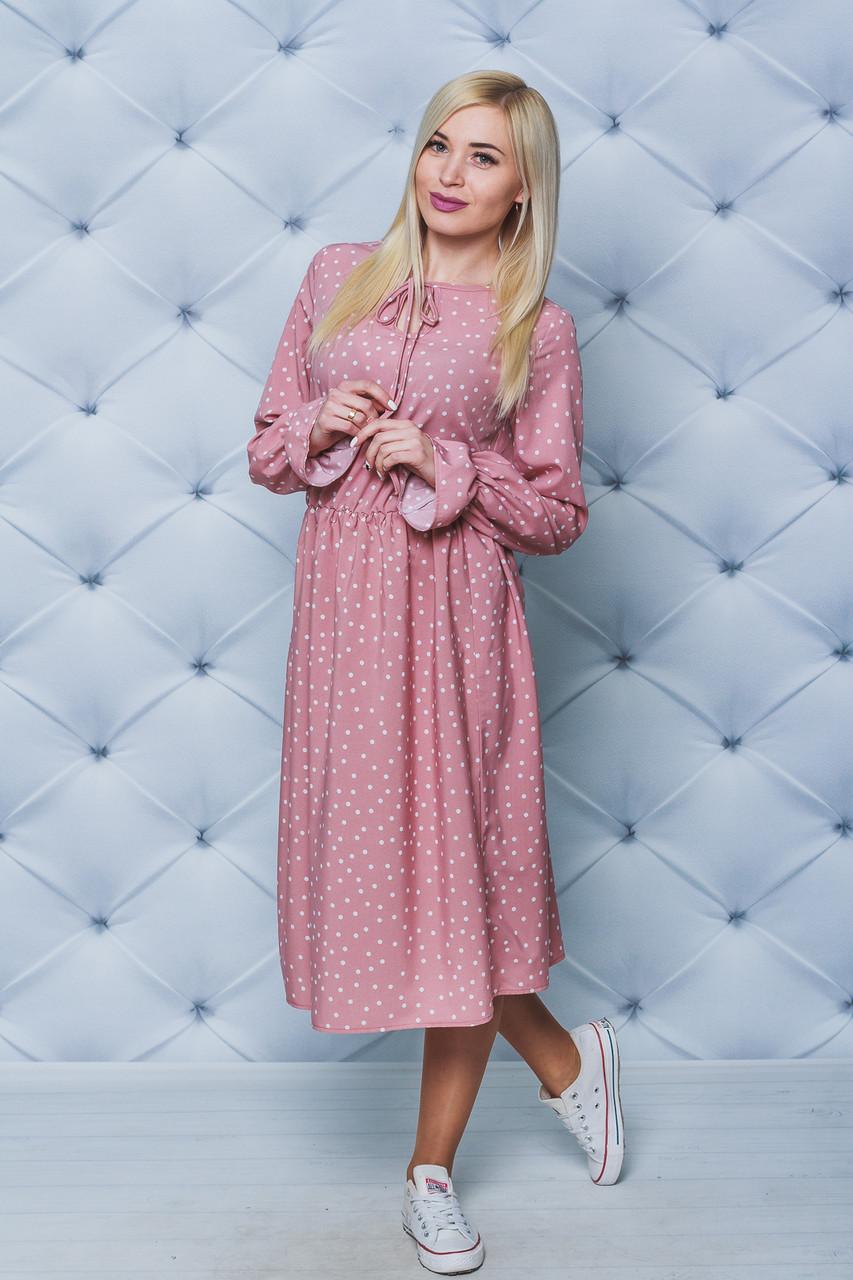 Платье женское миди Горох персик