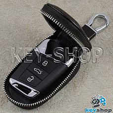 Ключница карманная (кожаная, темно - коричневая, с карабином, с кольцом), логотип авто Skoda (Шкода), фото 2