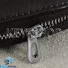 Ключница карманная (кожаная, темно - коричневая, с карабином, с кольцом), логотип авто Skoda (Шкода), фото 3