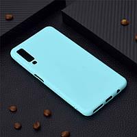Чехол для Samsung A750 / A7 2018 силикон soft touch бампер мятно-голубой