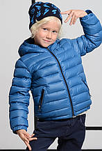 Стильная Теплая Зимняя Детская куртка для мальчика голубого цвета с капюшоном, 313, Италия 122 см, Голубой