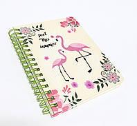 Блокнот на спиральке с Фламинго жёл.