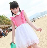 Детское  платье с воротничком .
