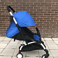 Детская коляска YOYA 175 A+ синий оксфорд (рама белая/чёрная) 4х ярусный капор