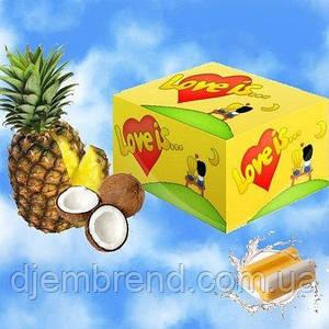 Жевательные резинки Love is ананас-кокос, блок -100 шт