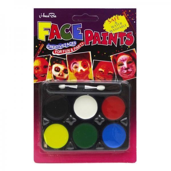 Краски для лица с кисточкой (6 цветов) FP015-1109