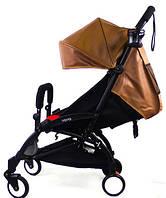 Детская коляска YOYA 175 A+  коричневая эко кожа (рама белая/чёрная) 3х ярусный капор