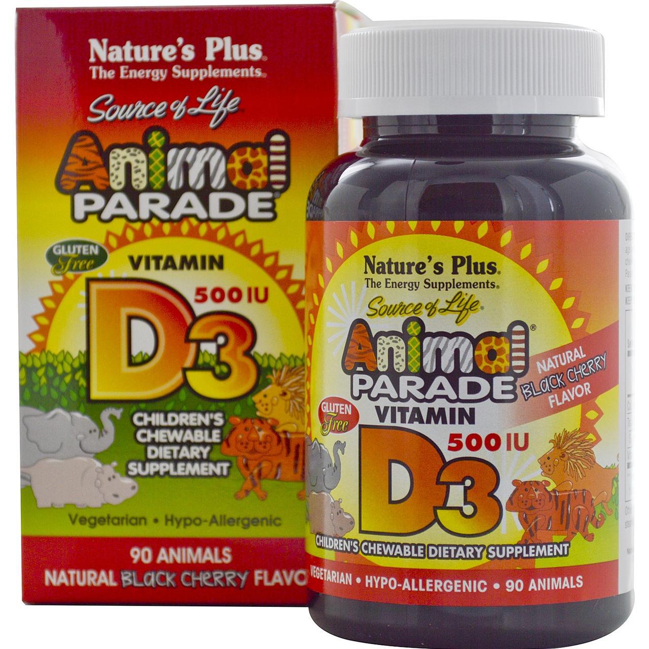 Витамин D3 для Детей, Вкус Черной Вишни, Animal Parade, Natures Plus, 90 жевательных таблеток