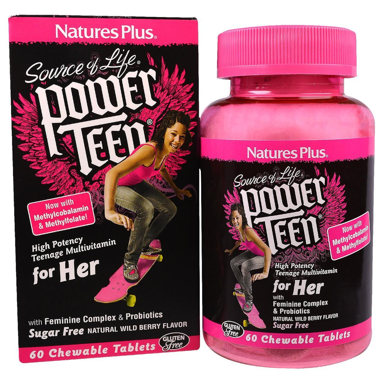 Мультивитамины для Девушек, Вкус Лесных Ягод, Power Teen, Natures Plus, 60 жевательных таблеток