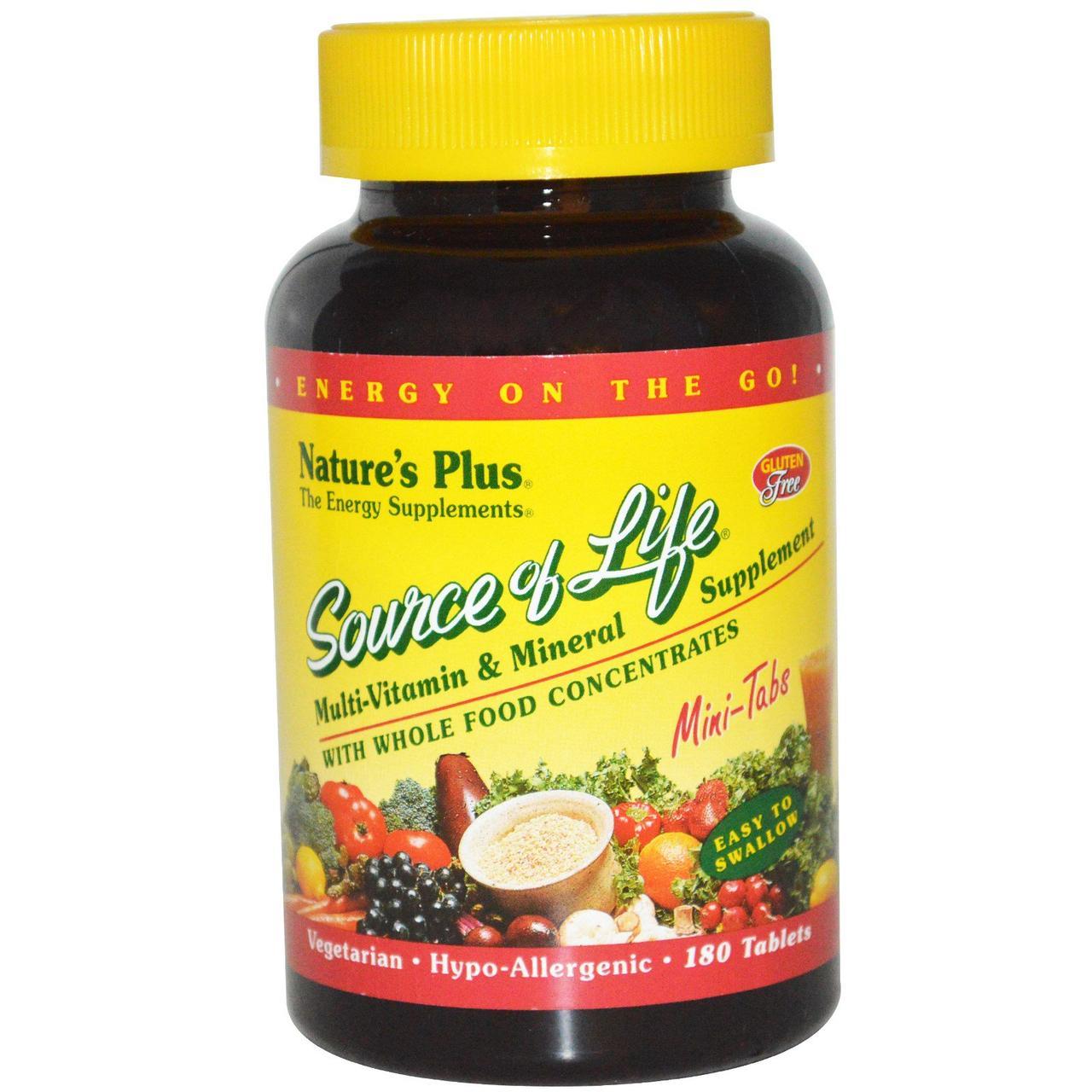 Мультивітаміни, Source of Life, Natures Plus, 180 міні таблеток