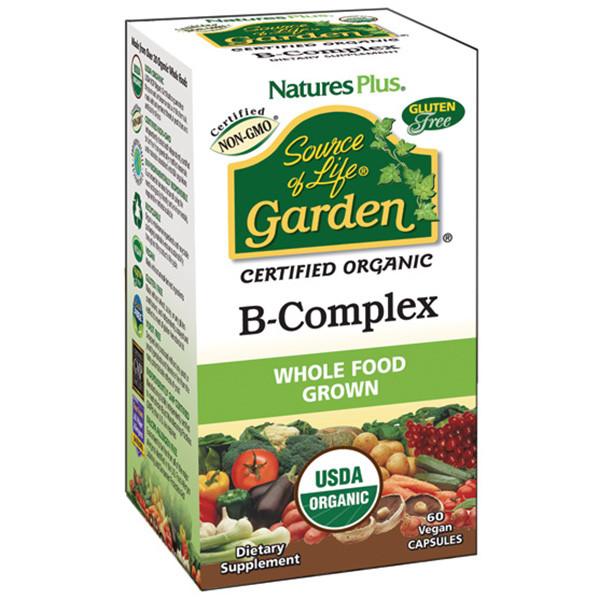 Органічний В-Комплекс, Source of Life Garden, Natures Plus, 60 гельових капсул